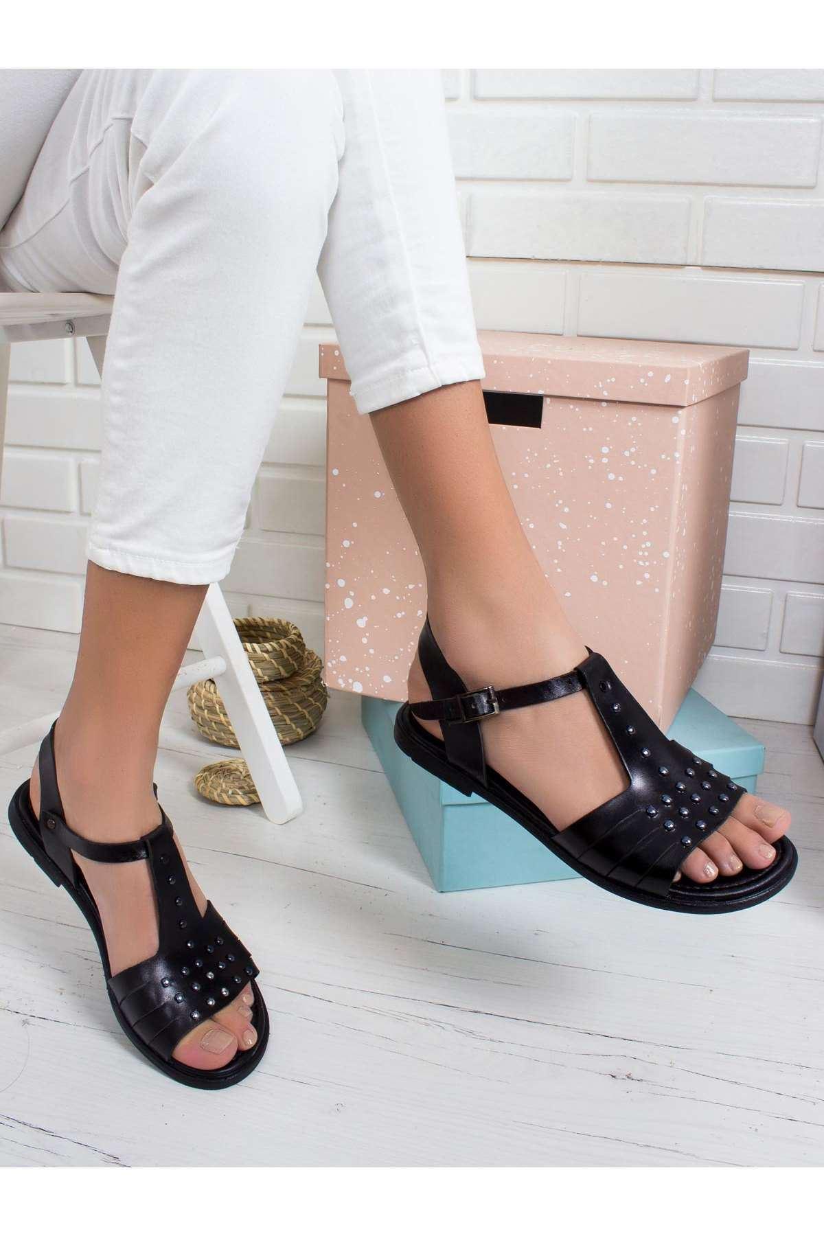 Sofia Hakiki Deri Sandalet SIYAH