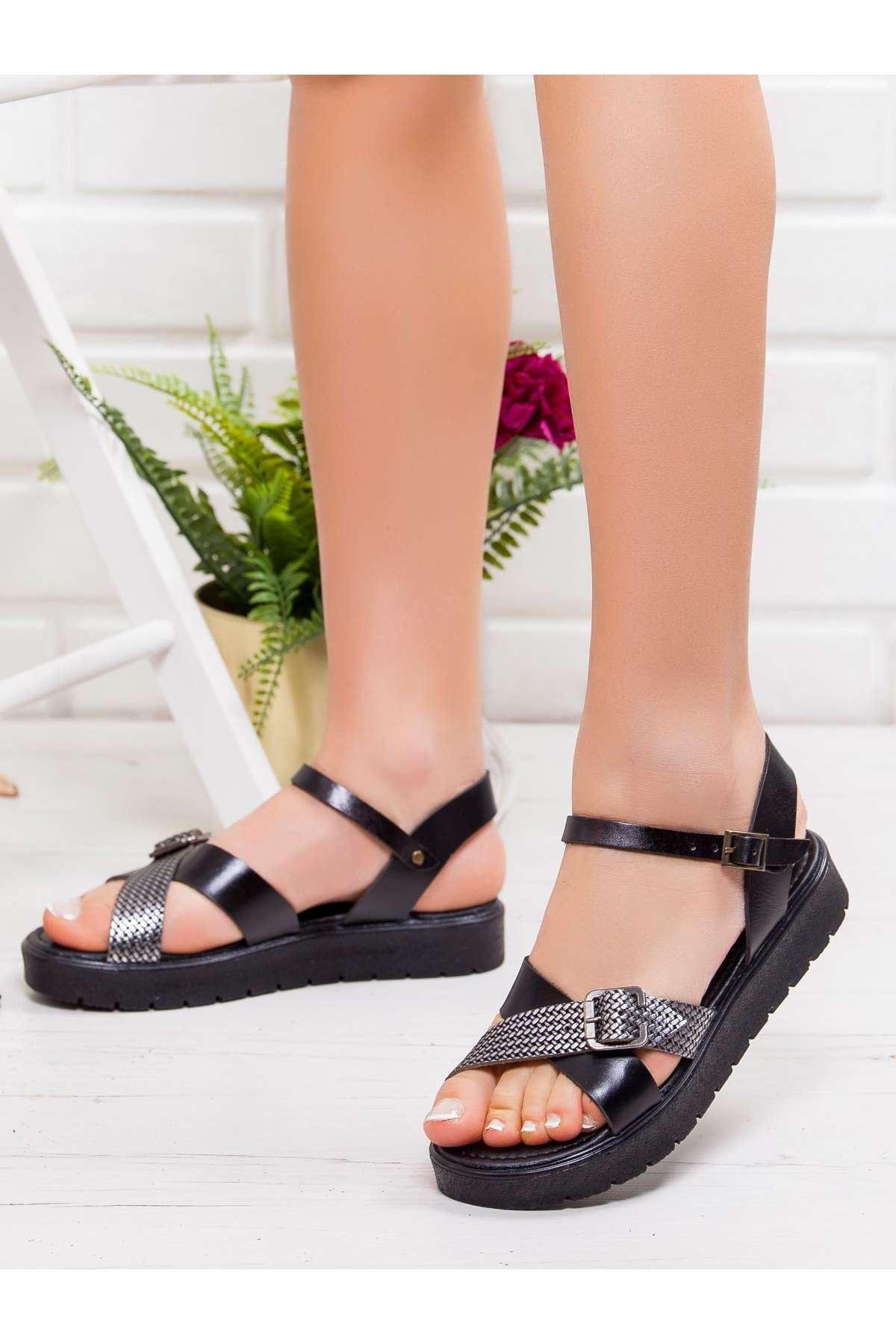 Olive Hakiki Deri Sandalet SIYAH