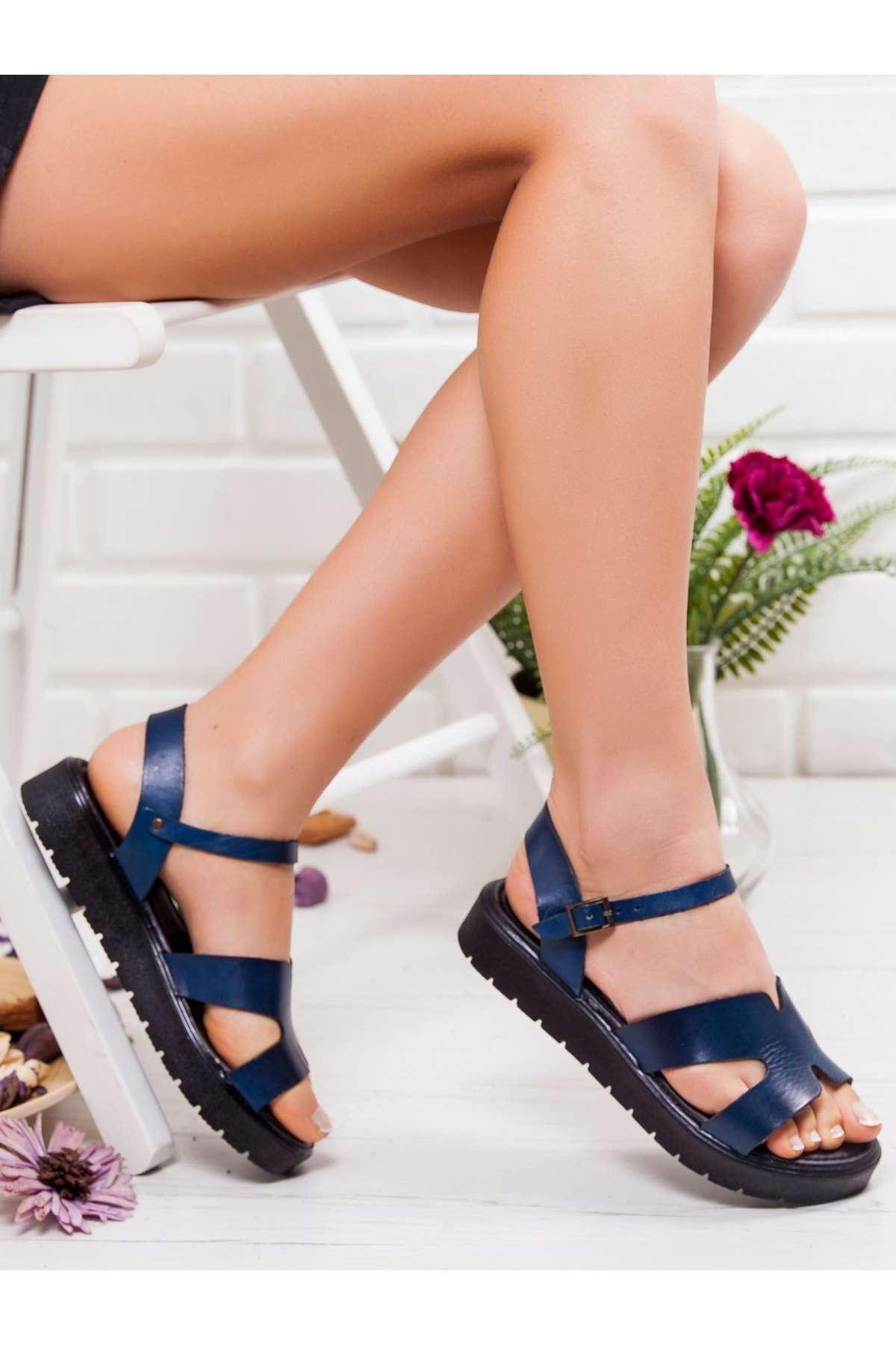 Nancy Hakiki Deri Sandalet MAVİ