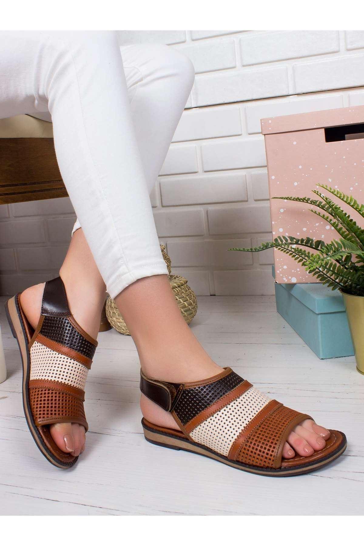 Star Hakiki Deri Sandalet MİX