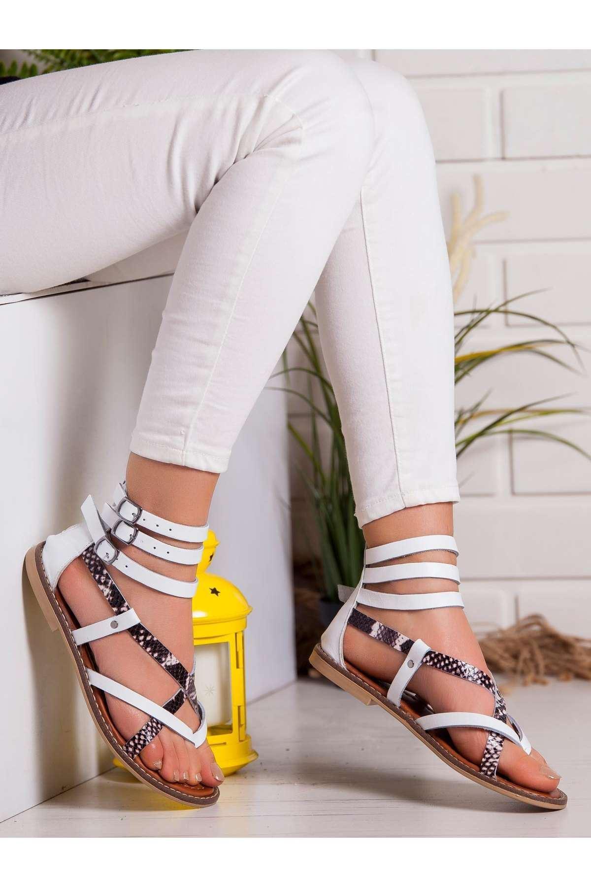 Serena Hakiki Deri Sandalet BEYAZ