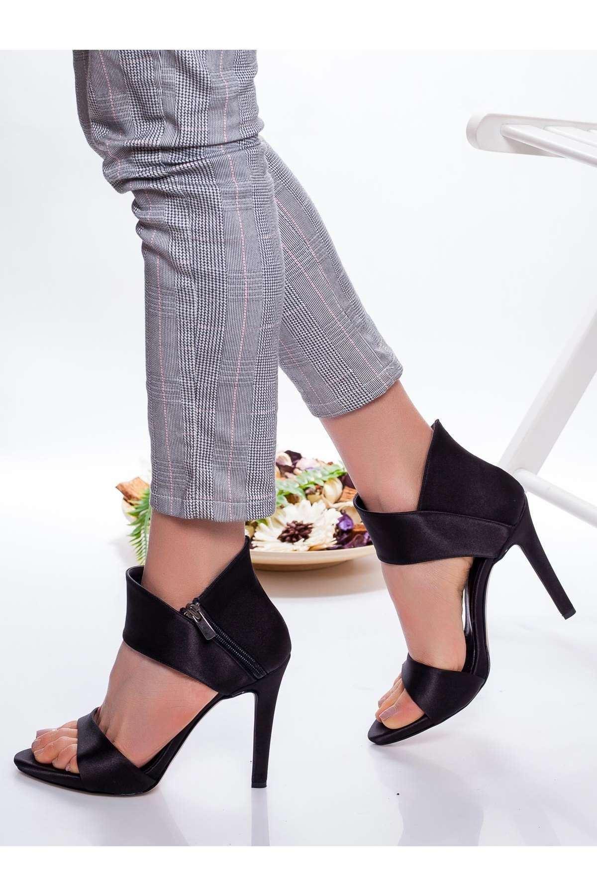 Frida Saten Topuklu Ayakkabı SIYAH