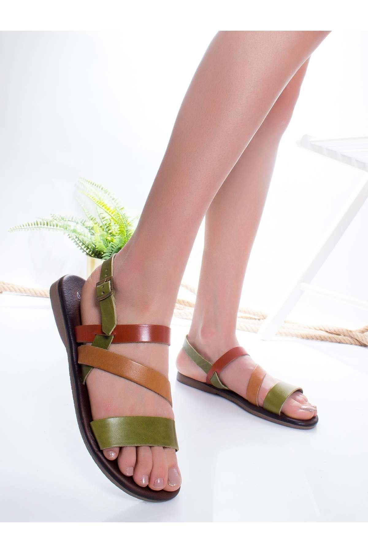 Heidi Hakiki Deri Sandalet MİX