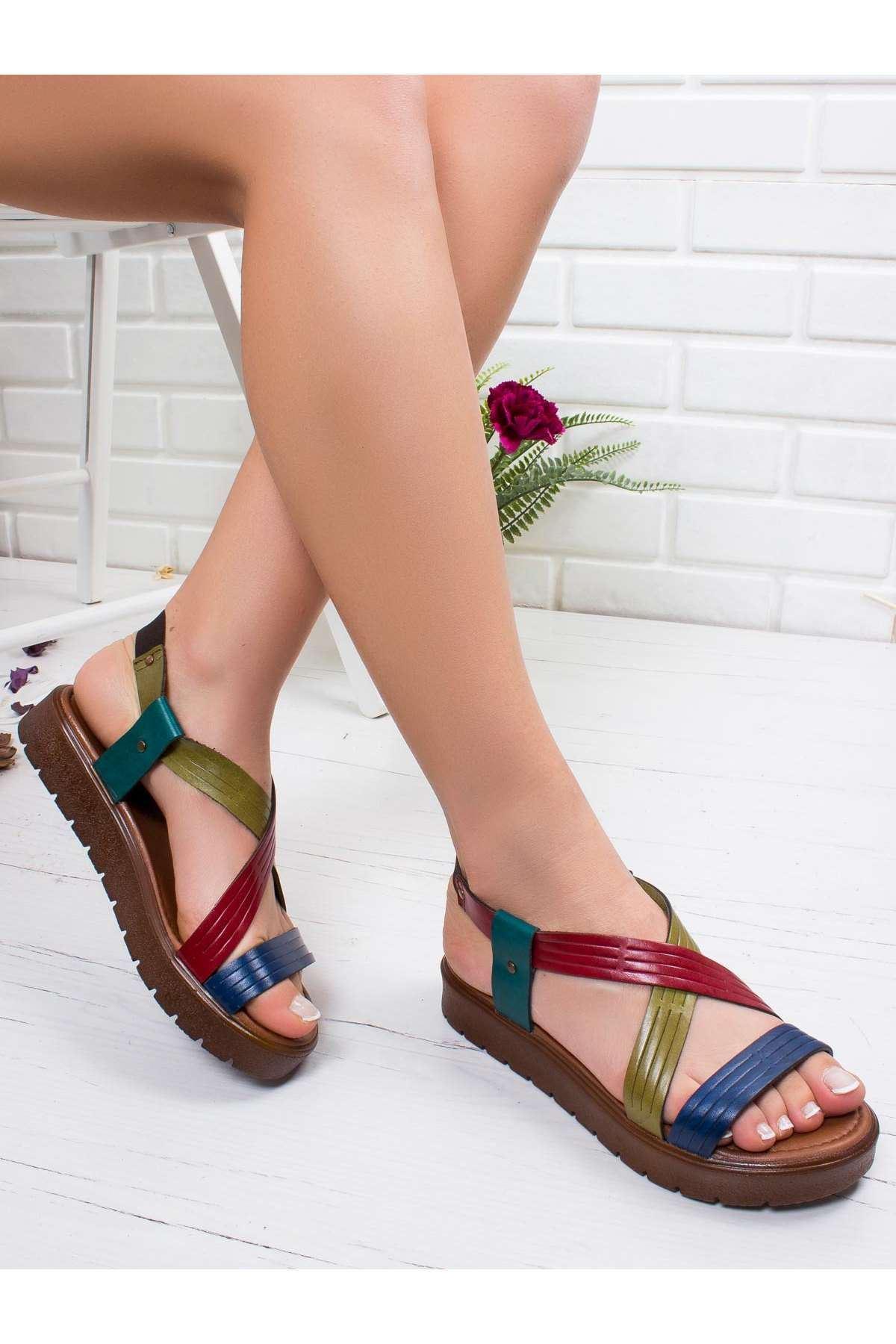 Jade Hakiki Deri Sandalet MİX