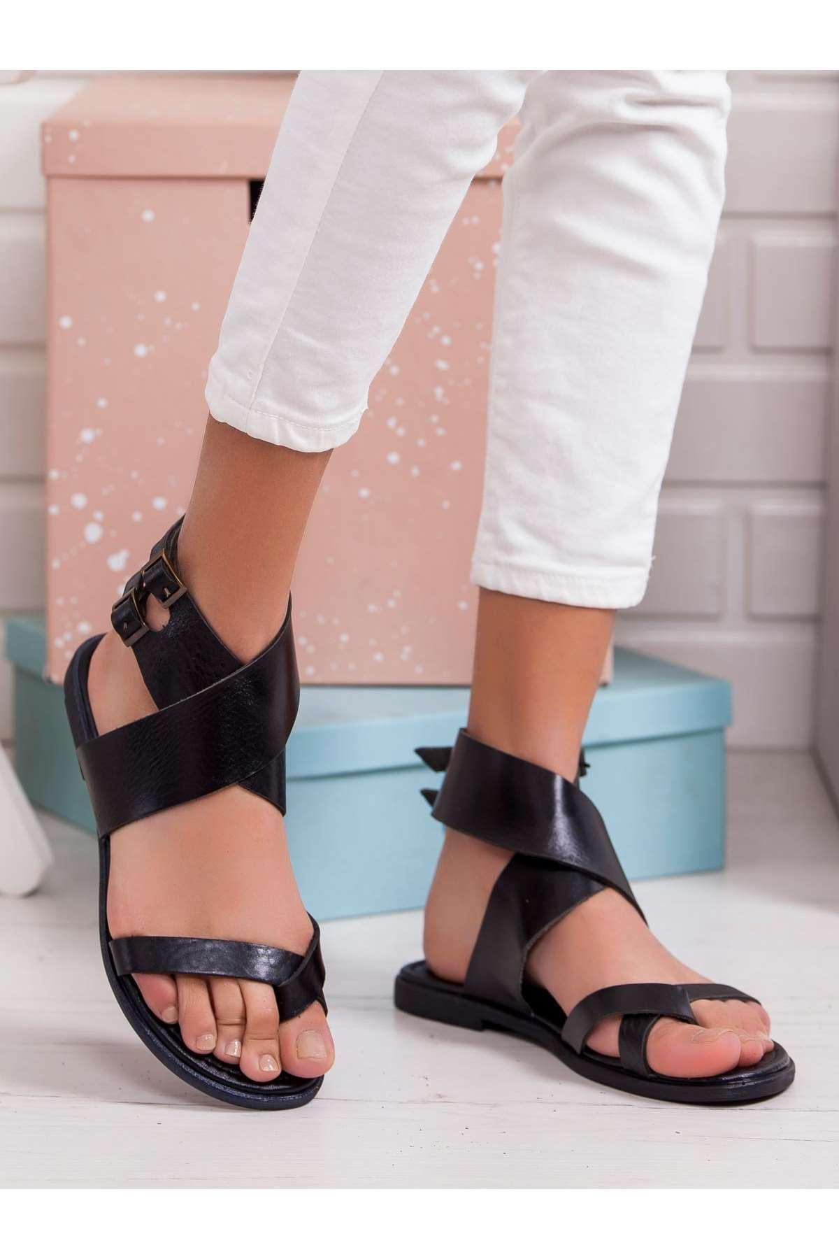 Line Hakiki Deri Sandalet SIYAH