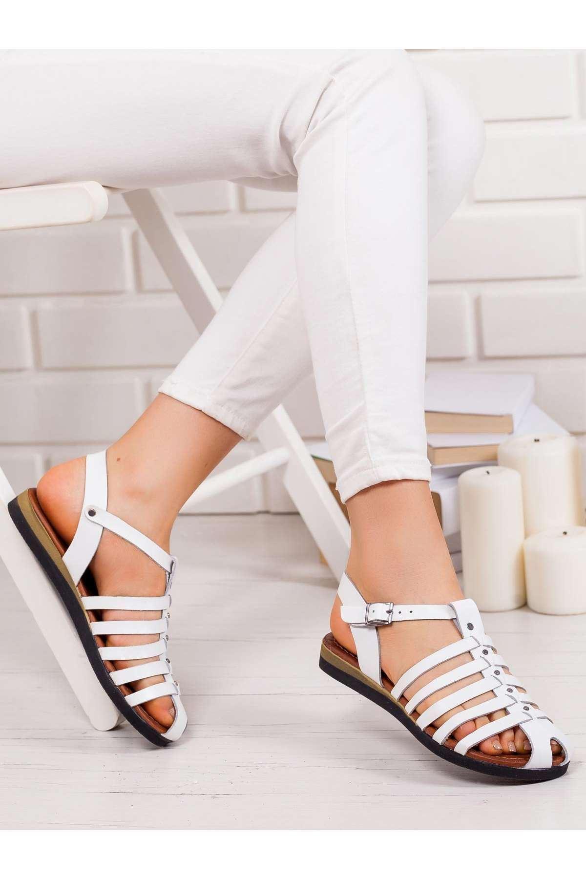 Kate Hakiki Deri Sandalet BEYAZ