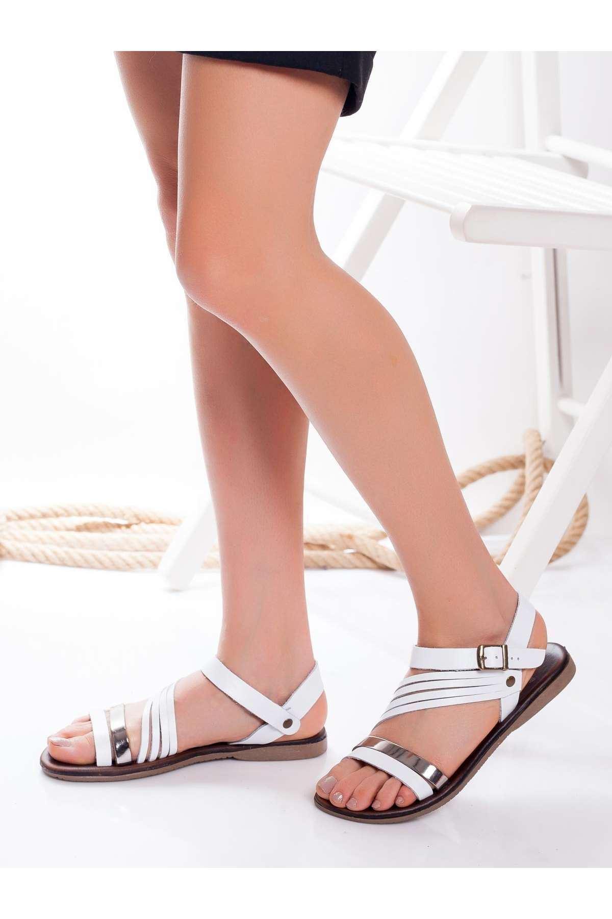 Margid Hakiki Deri Sandalet BEYAZ