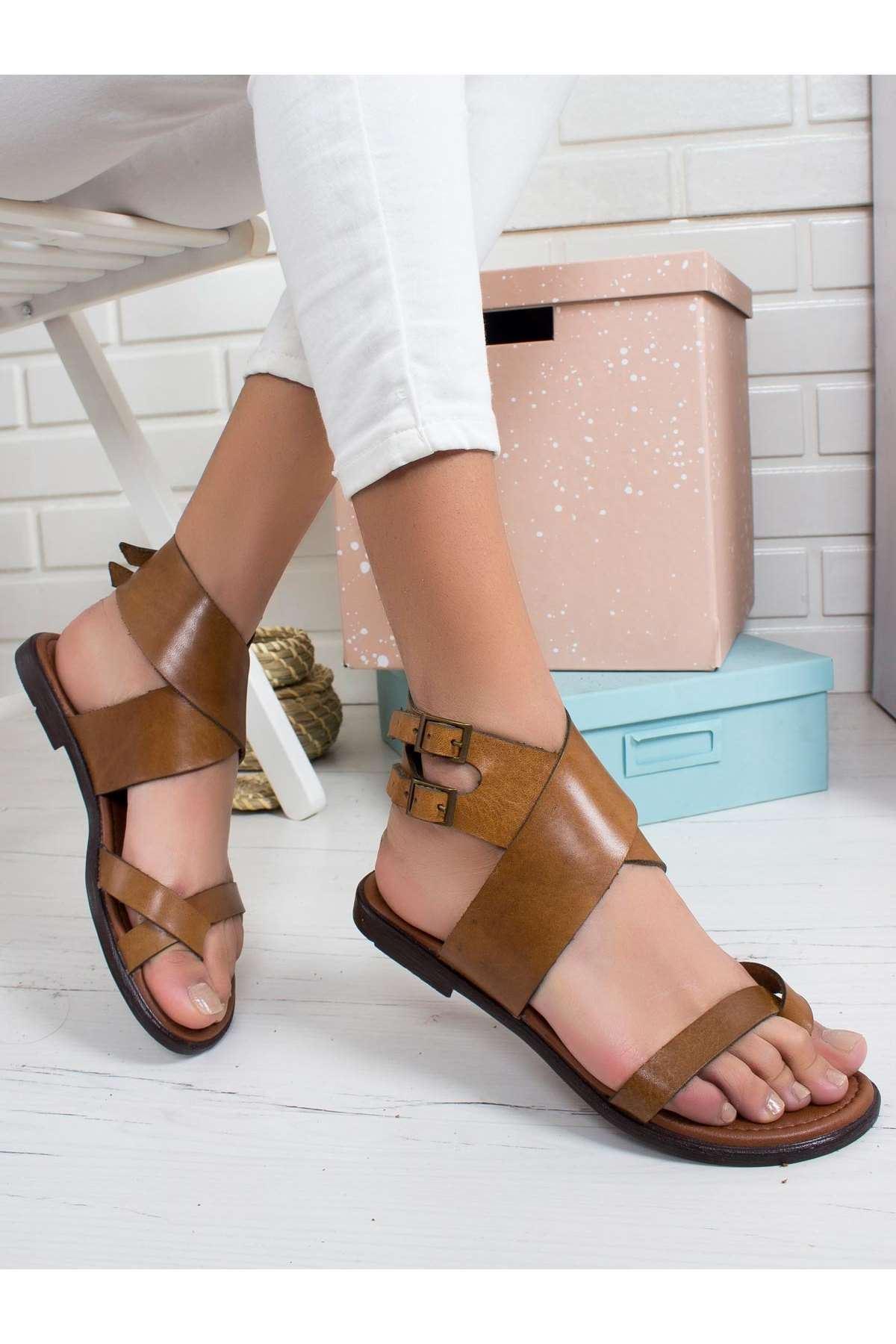 Line Hakiki Deri Sandalet TABA