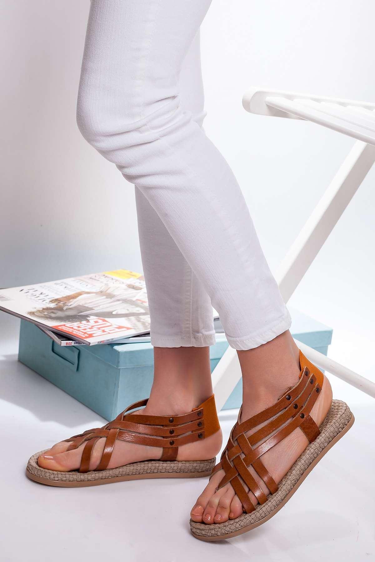 Delit Hakiki Deri Sandalet TABA