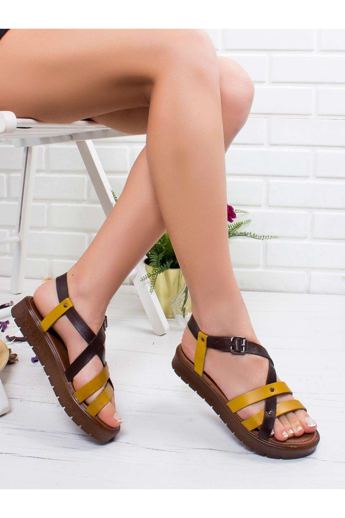 Elsa Hakiki Deri Sandalet MİX
