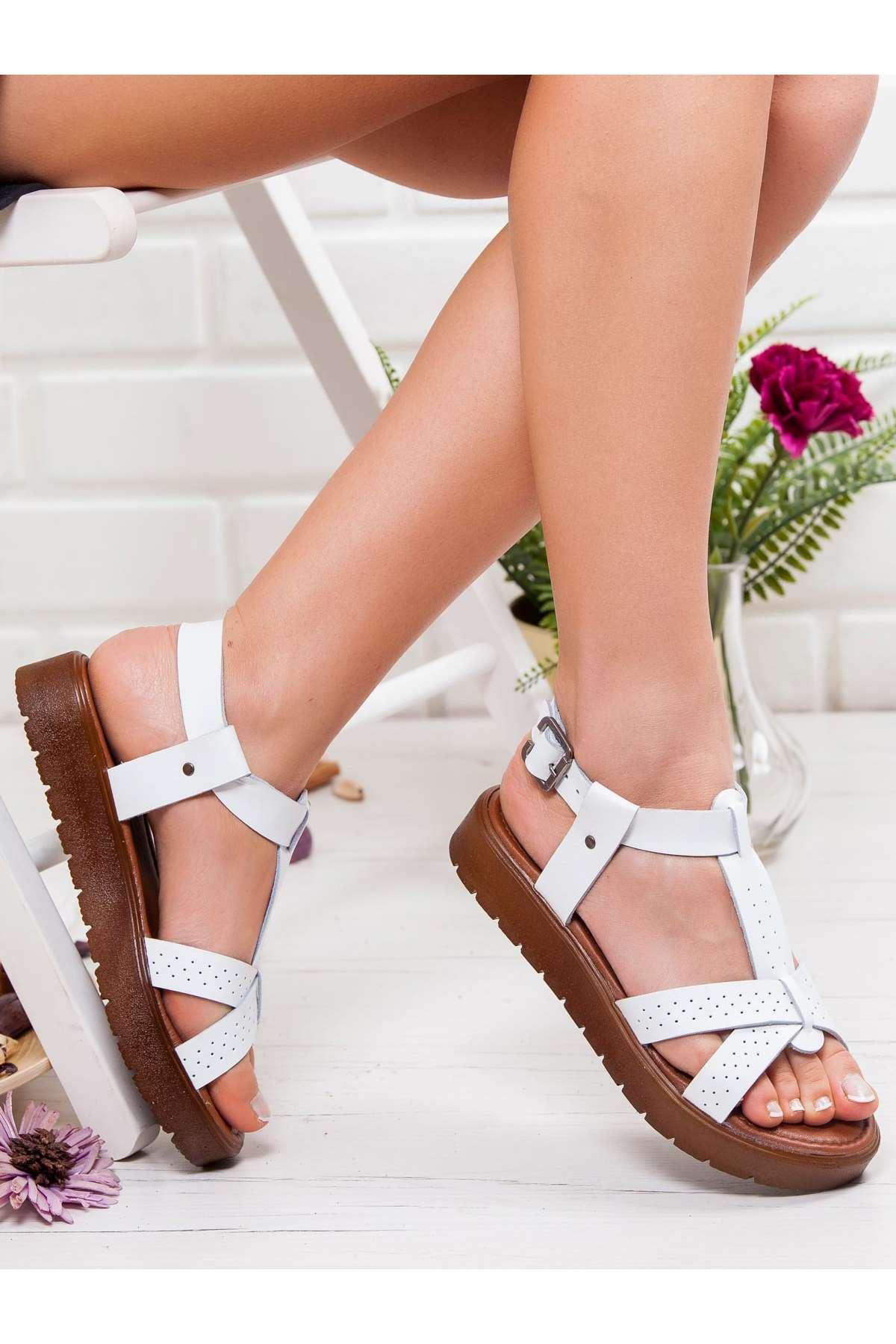 Emma Hakiki Deri Sandalet BEYAZ