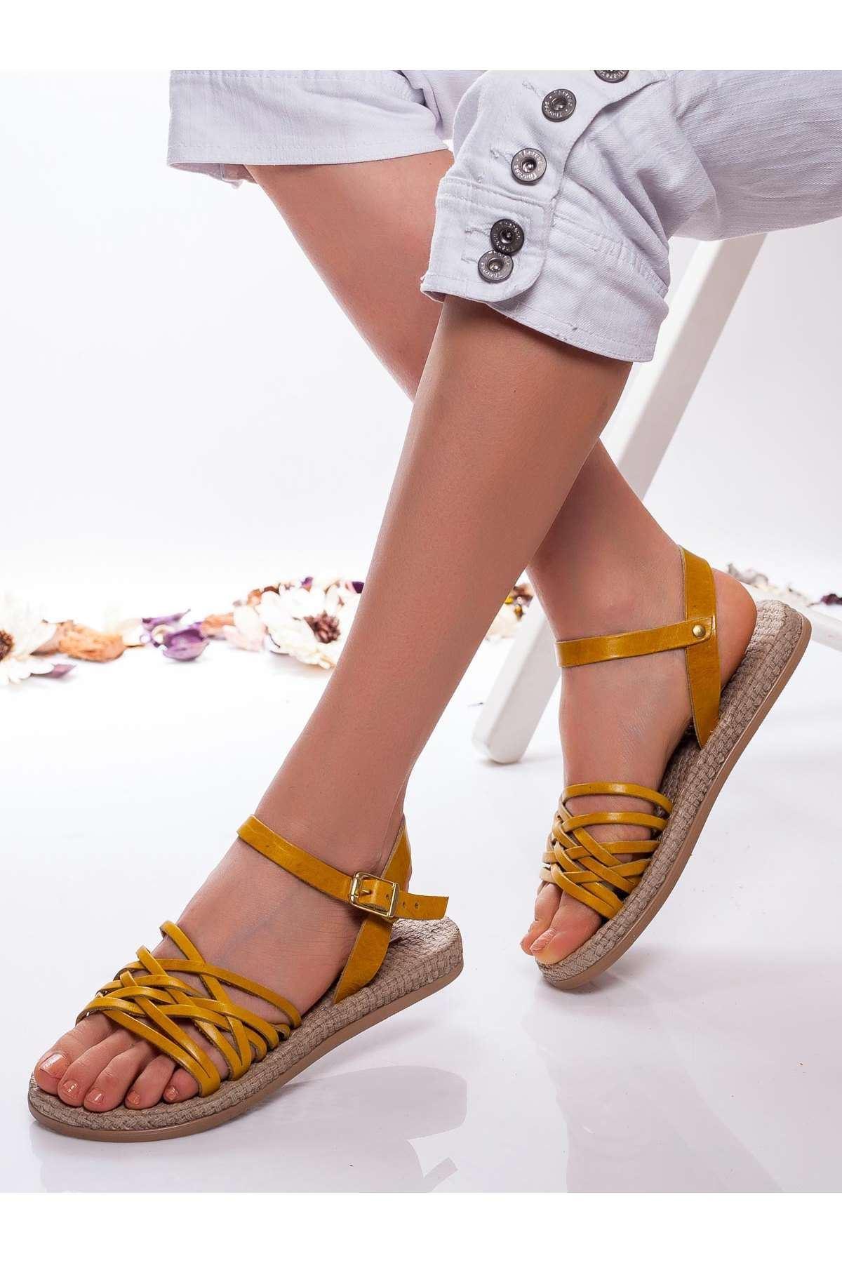 Carine Hakiki Deri  Sandalet SARI