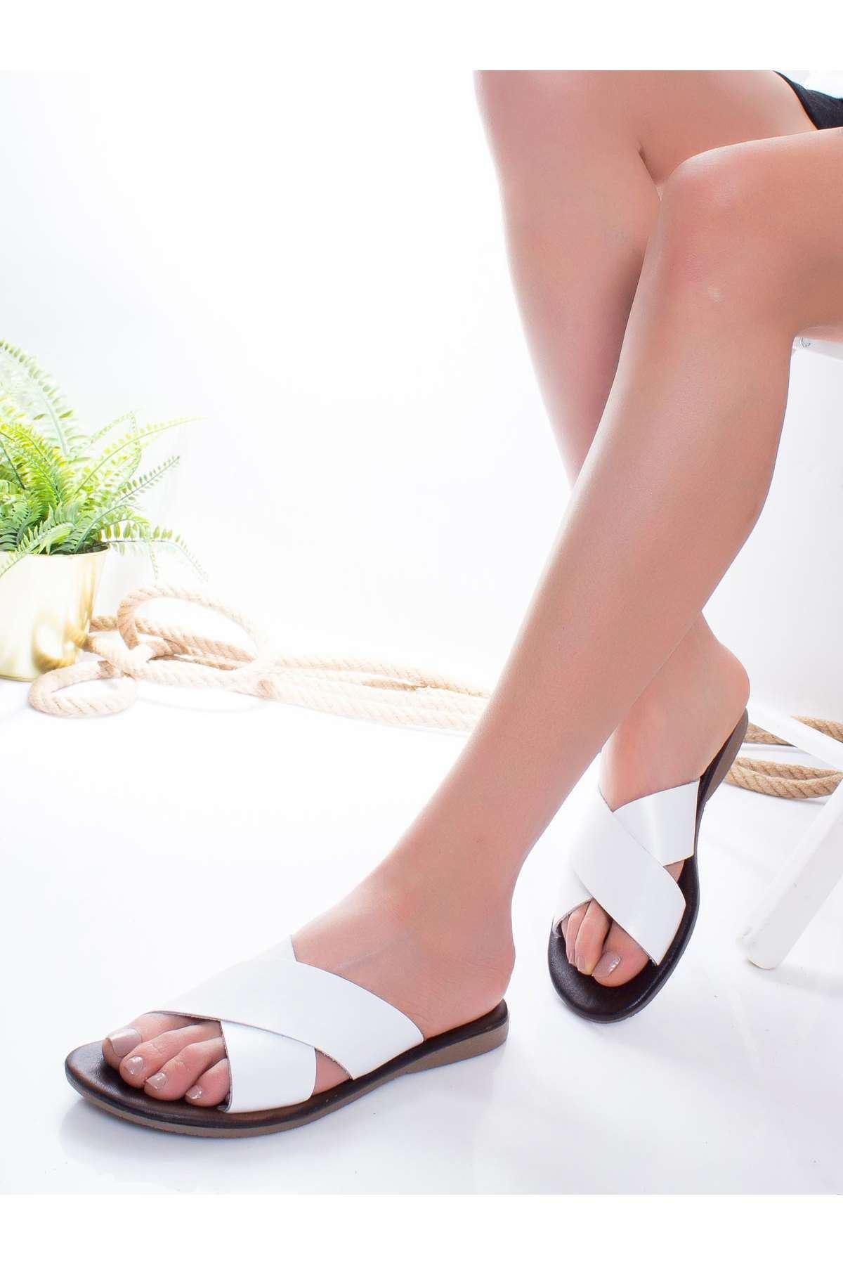Alanso Hakiki Deri Sandalet BEYAZ