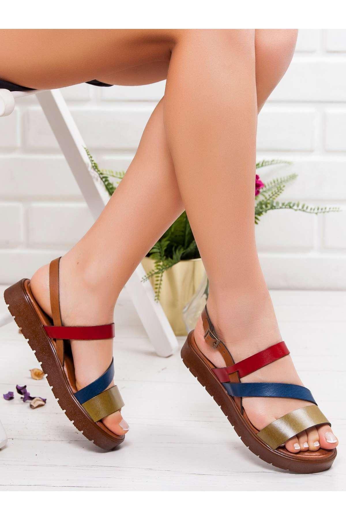 Alisa Hakiki Deri Sandalet MİX