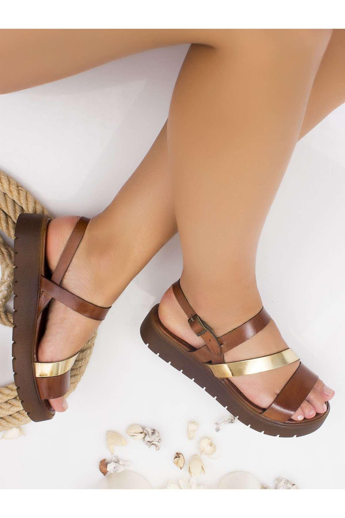 Alisa Hakiki Deri Sandalet TABA