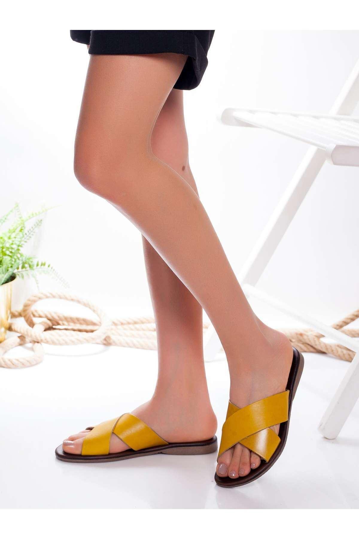 Alanso Hakiki Deri Sandalet SARI