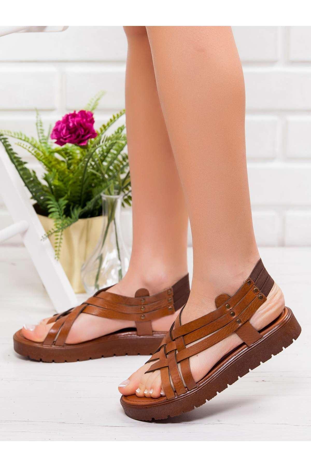Amor Hakiki Deri Sandalet TABA