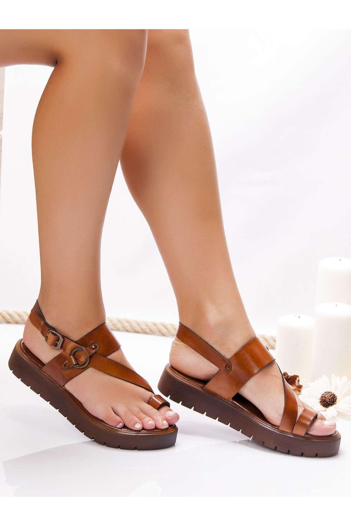 Alaçatı Hakiki Deri Sandalet TABA