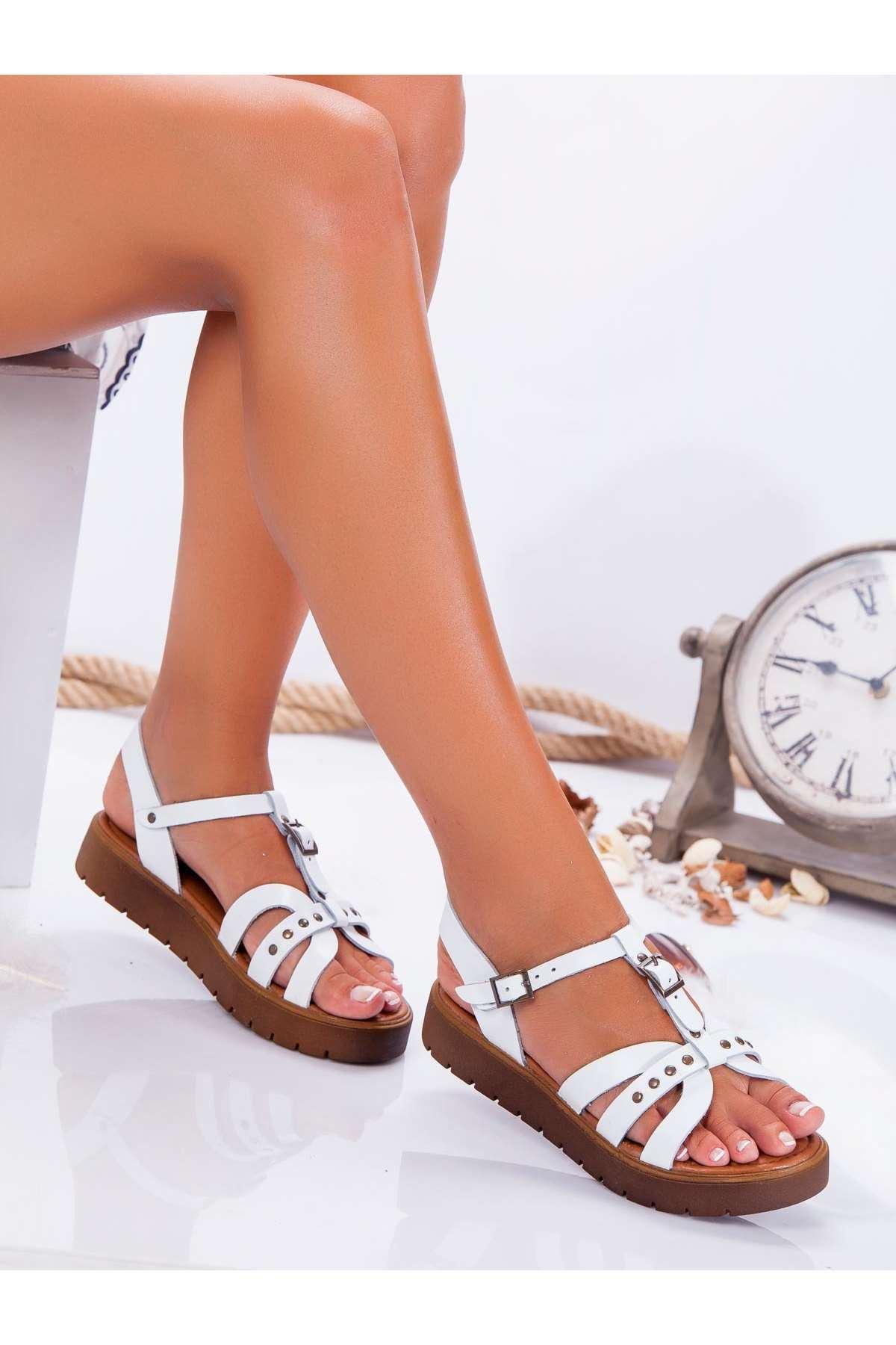 Anita Hakiki Deri Sandalet BEYAZ