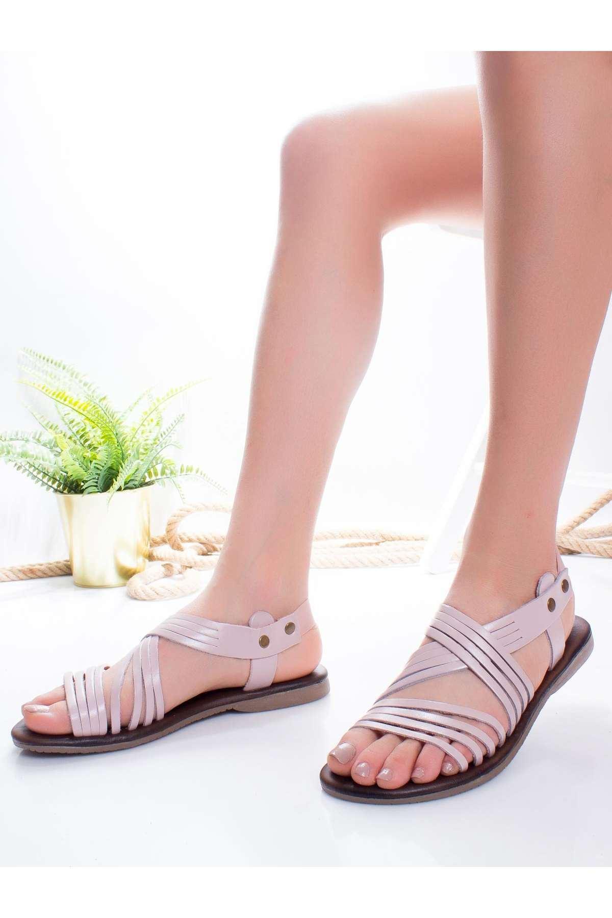 Adie Hakiki Deri Sandalet PUDRA
