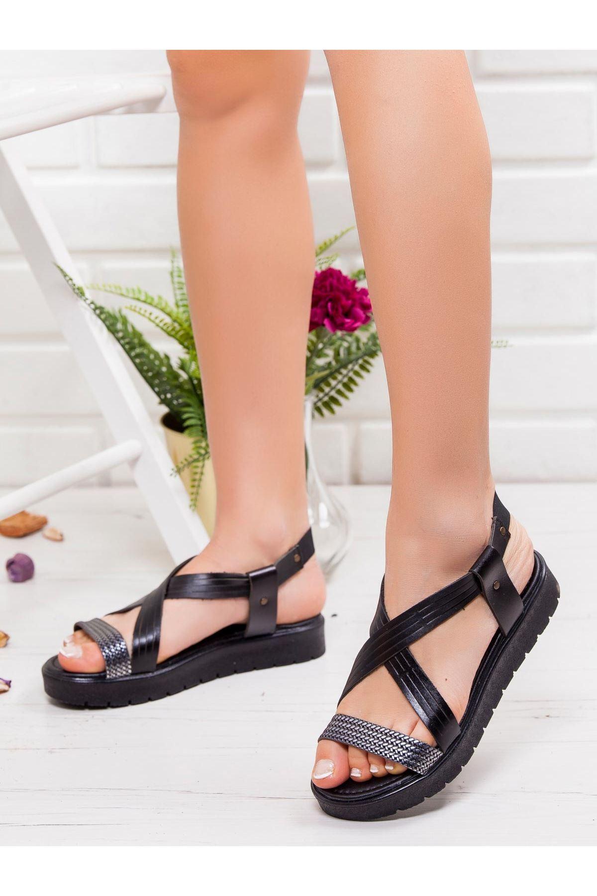 Jade Hakiki Deri Sandalet SIYAH