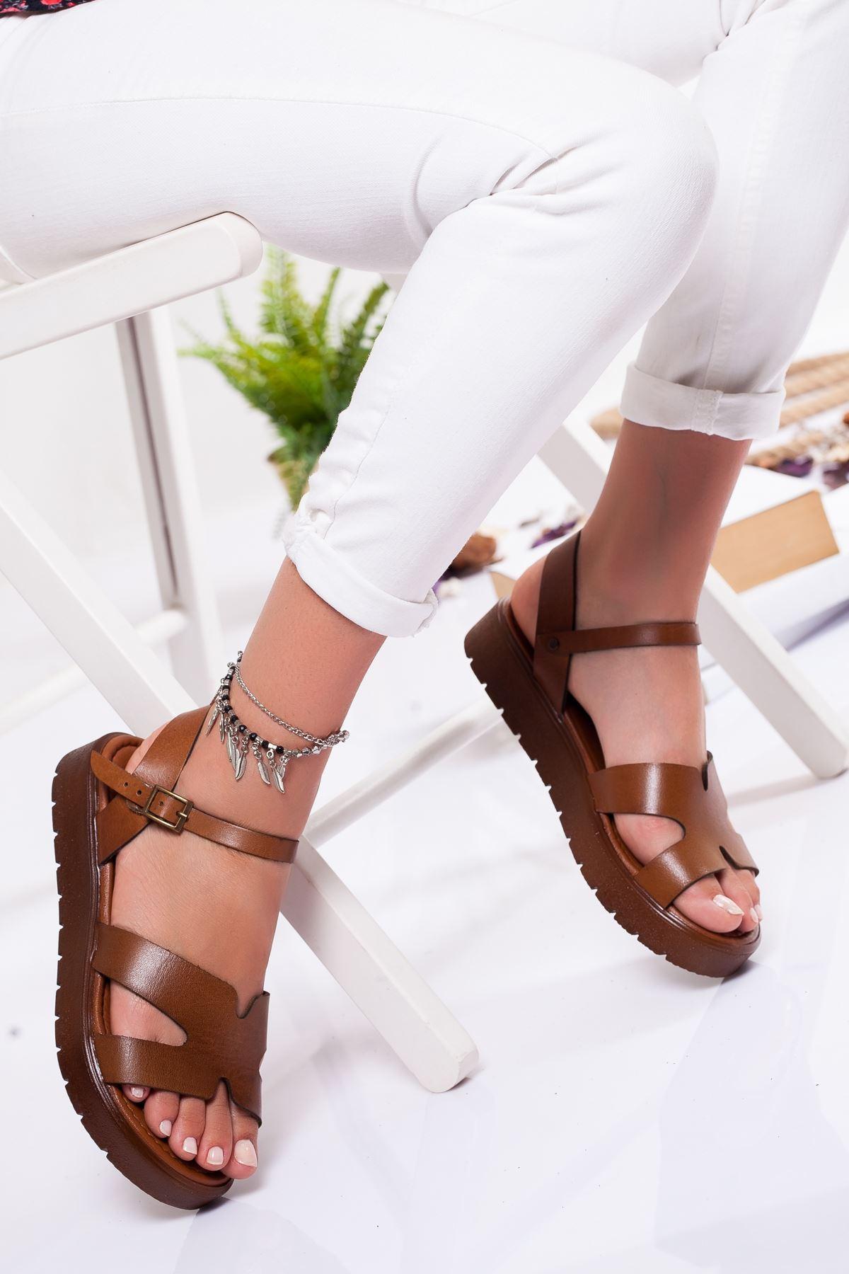 Nancy Hakiki Deri Sandalet TABA