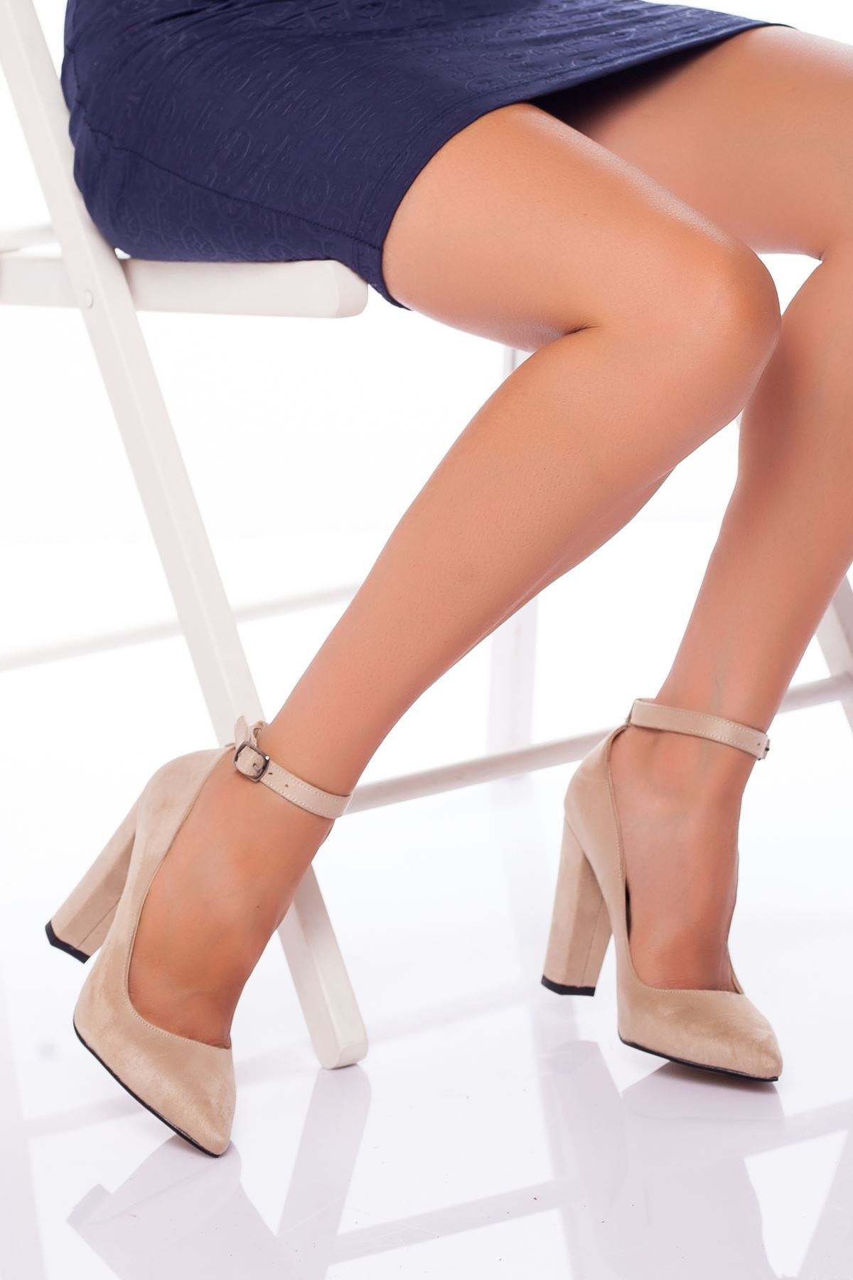 Delma Topuklu Ayakkabı TEN SÜET