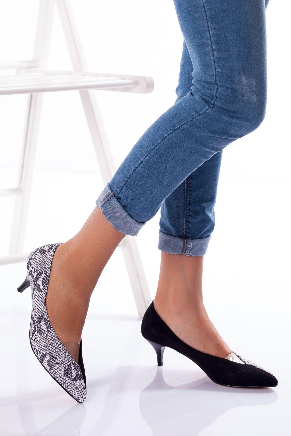Nicci Topuklu Süet Ayakkabı SİYAH-YILAN