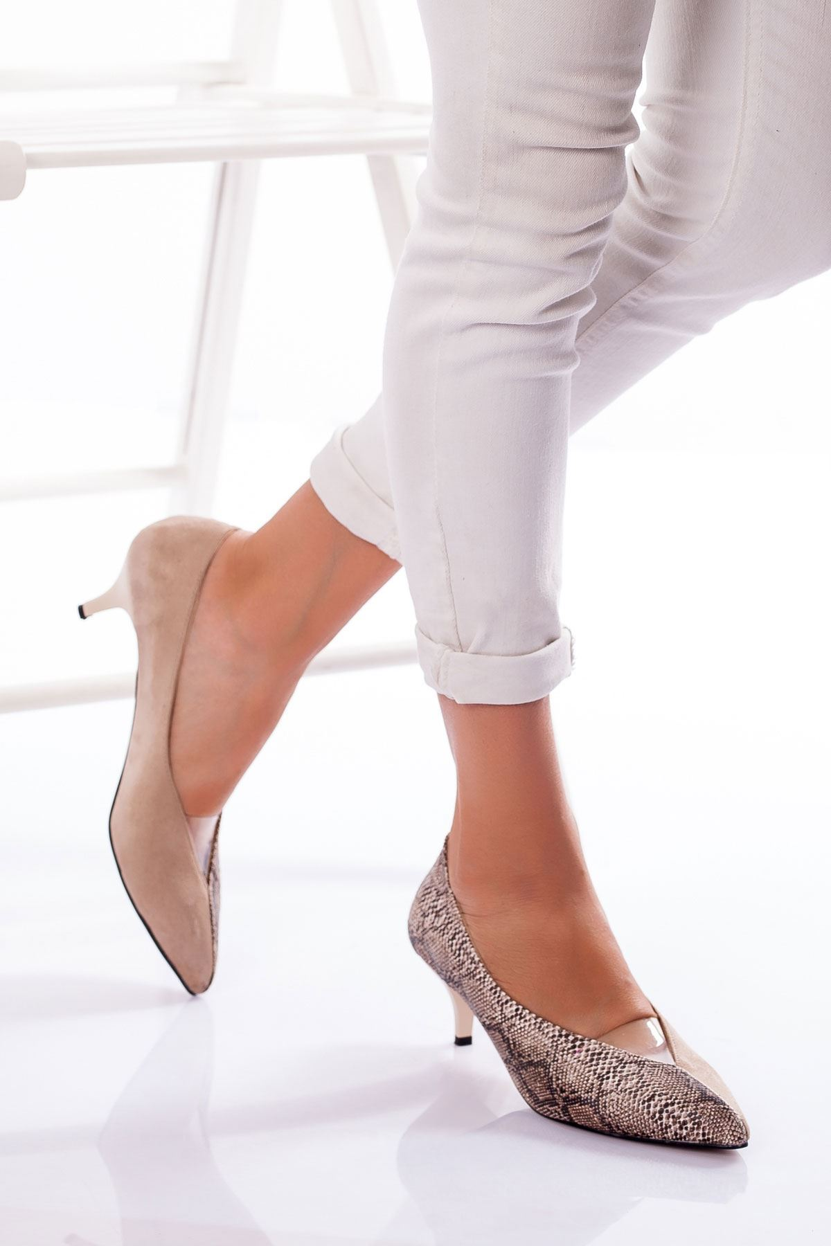 Nicci Topuklu Süet Ayakkabı TEN-YILAN