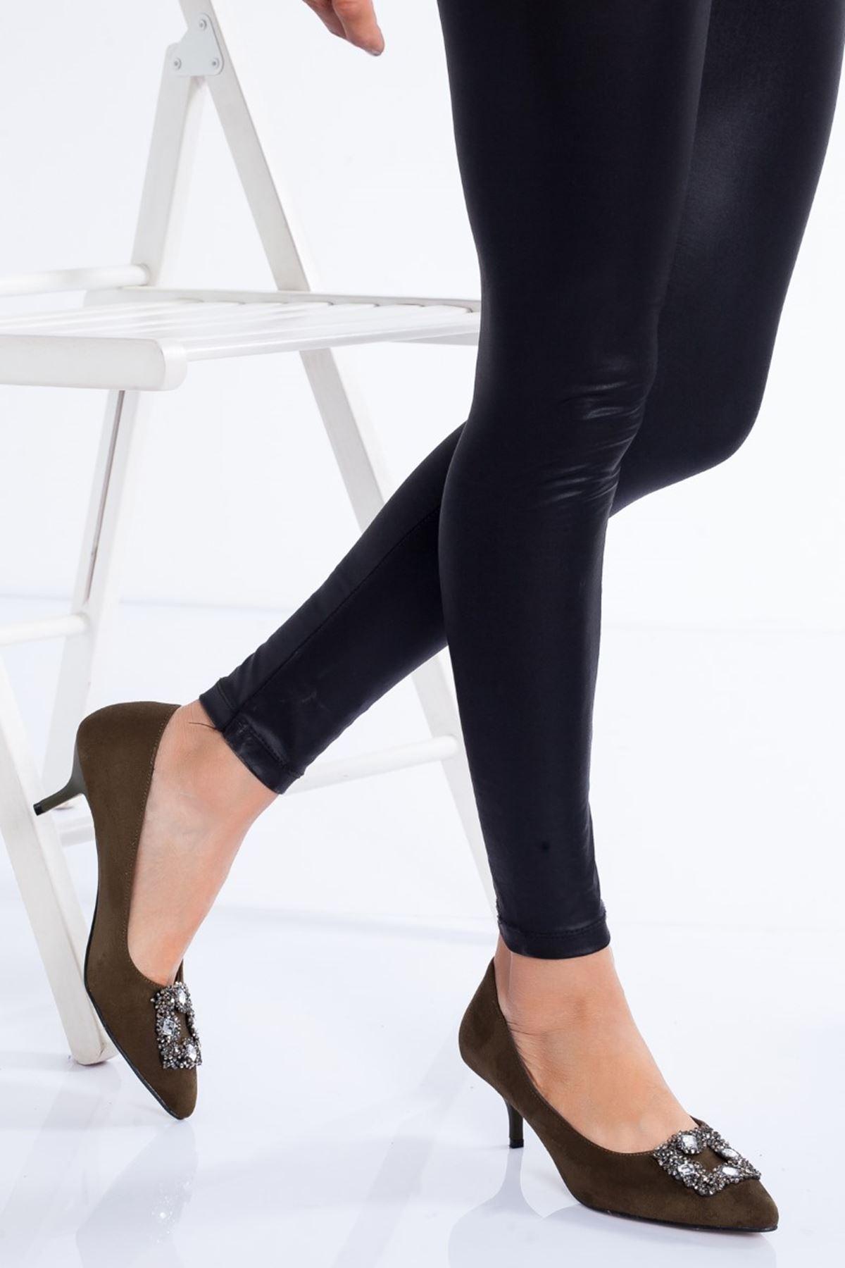 Christy Topuklu Ayakkabı HAKİ SÜET