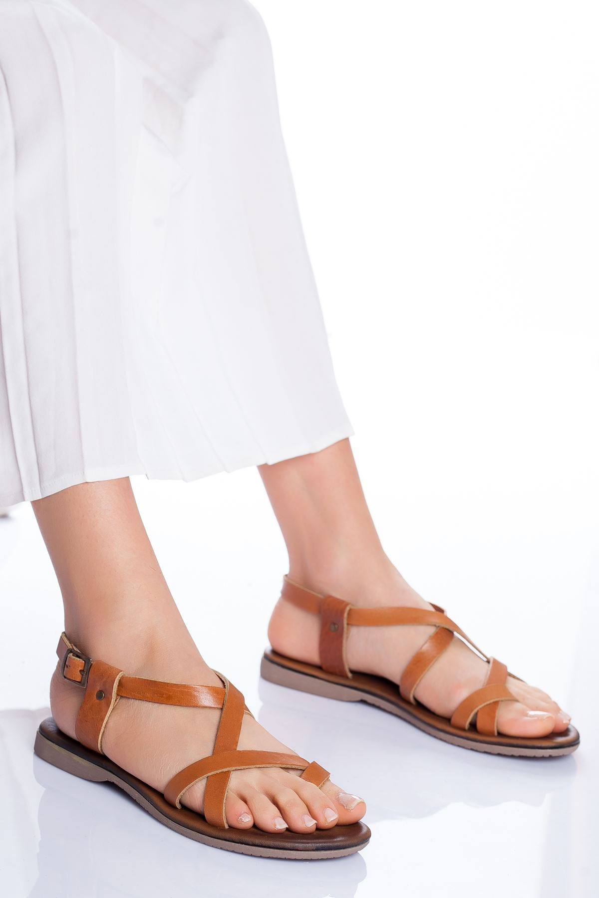 Irmine Hakiki Deri Sandalet TABA