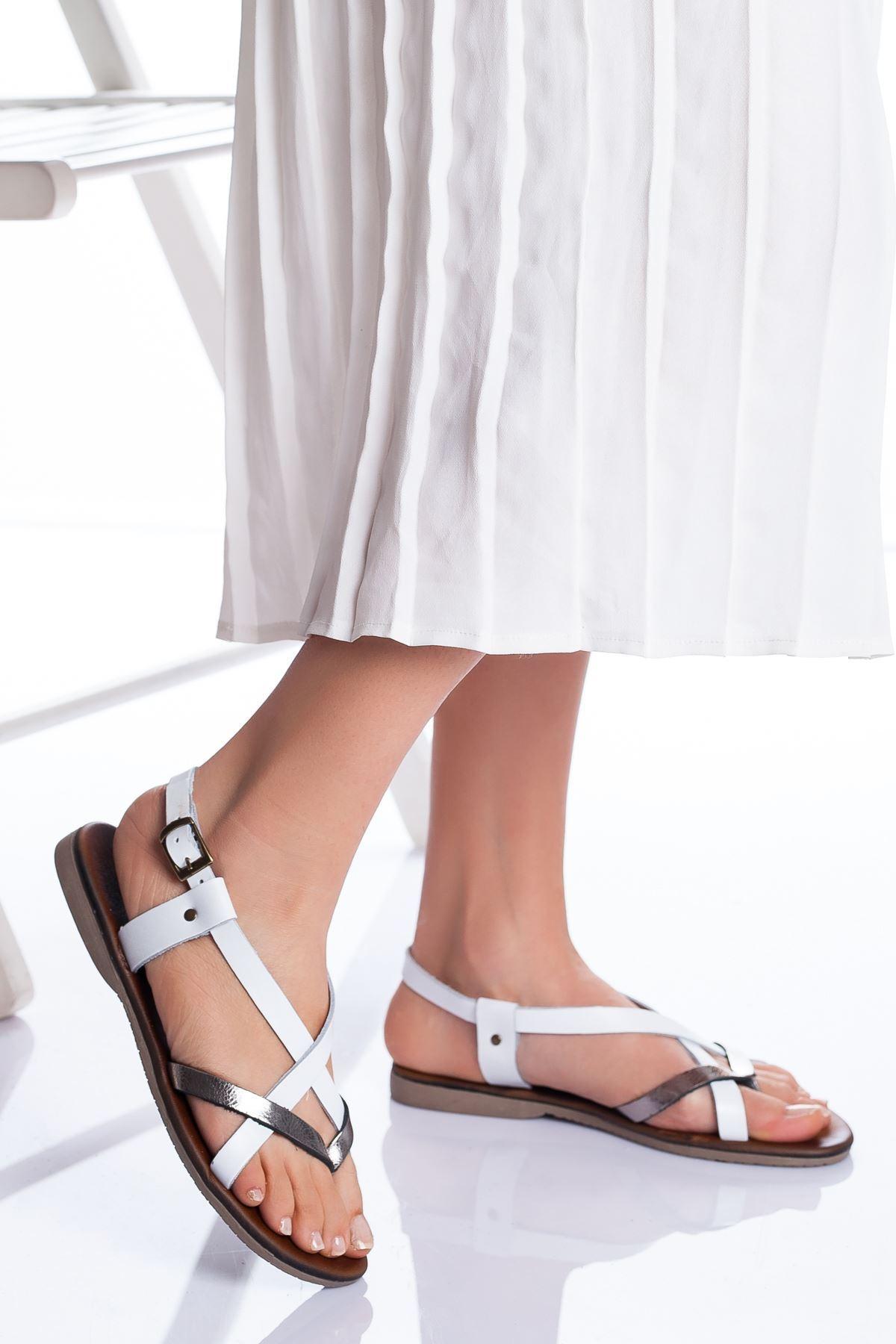 Amara Hakiki Deri Sandalet BEYAZ-GÜMÜŞ