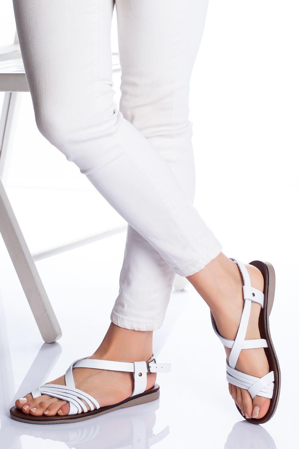 Bluma Hakiki Deri Sandalet BEYAZ