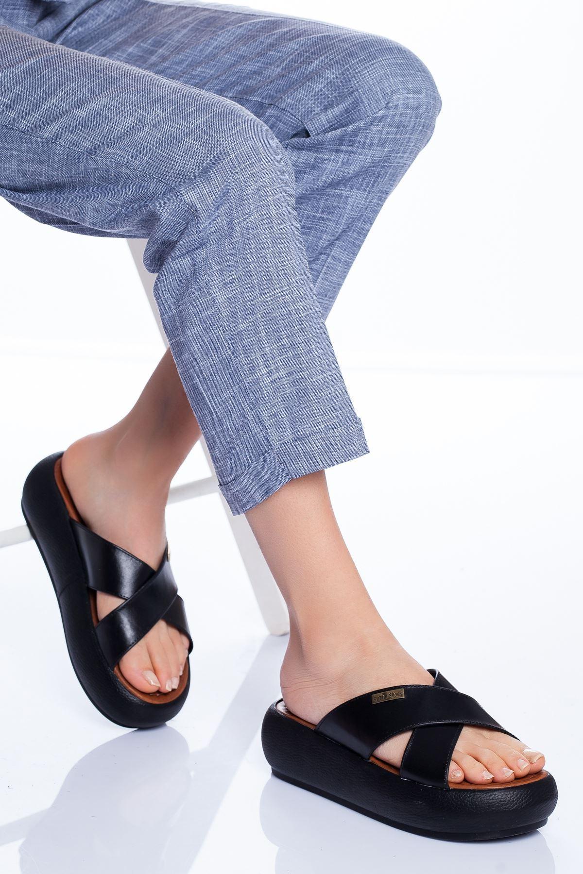 Carey Hakiki Deri Sandalet SIYAH