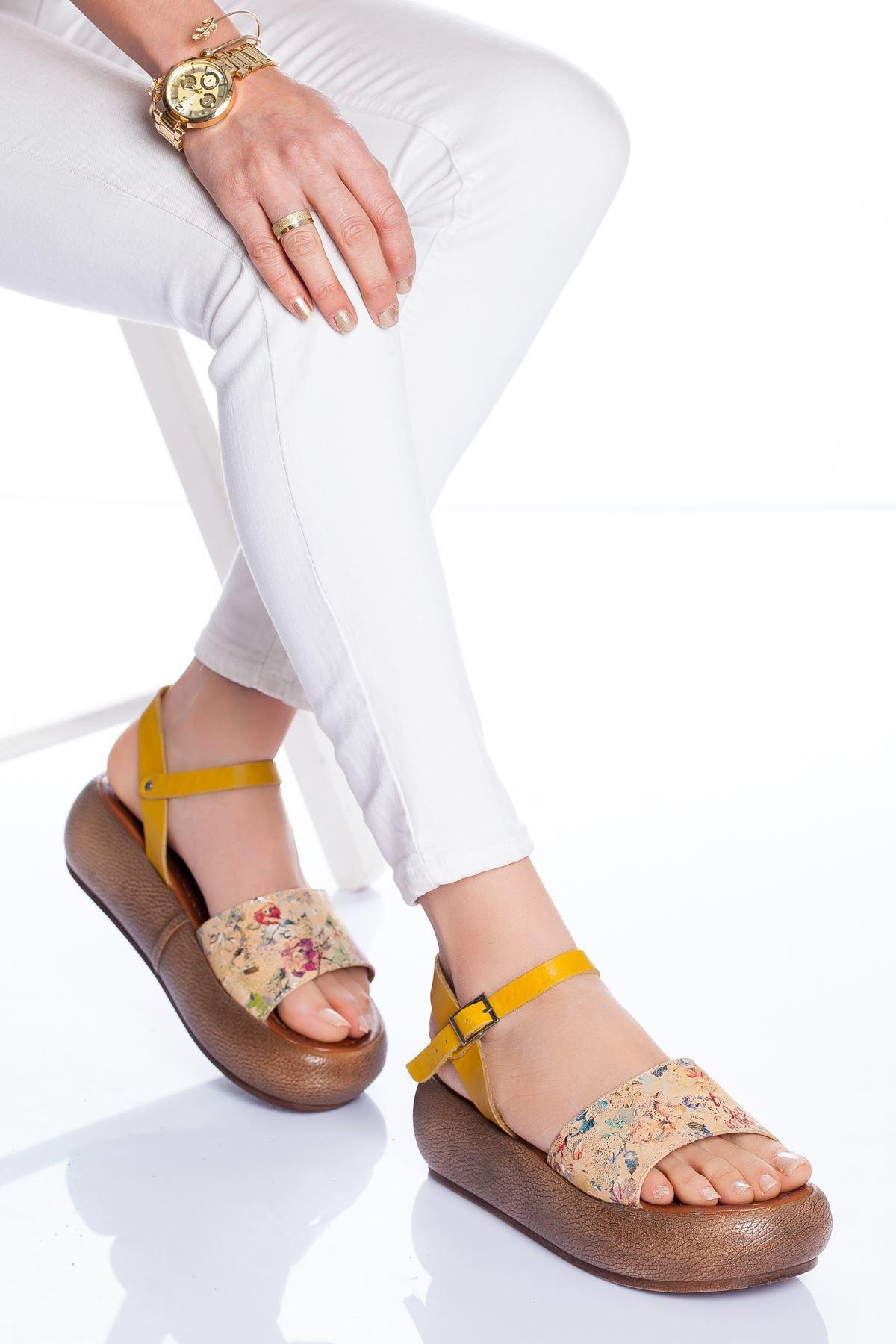 Lizy Deri Sandalet SARI