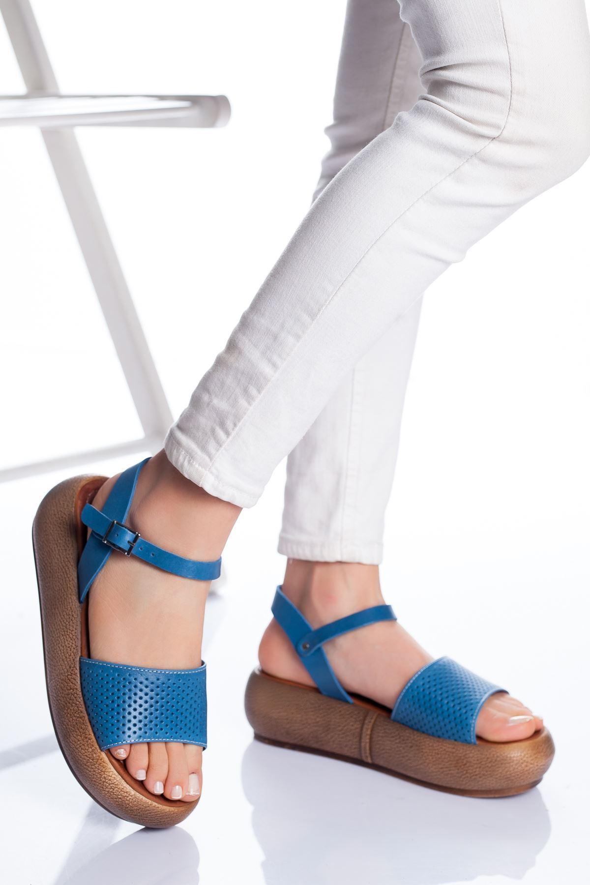Loren Deri Sandalet MAVİ