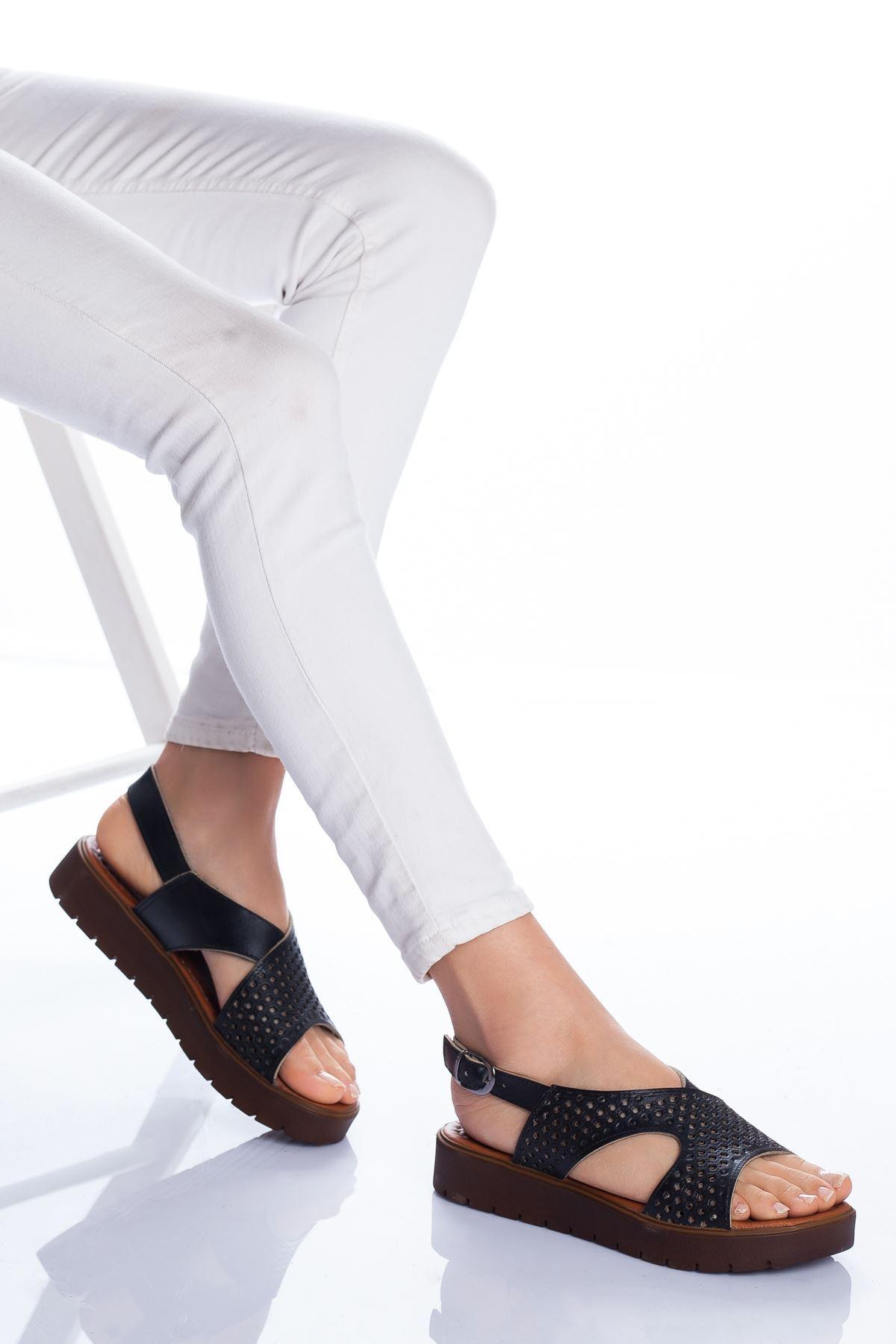 Haley Hakiki Deri Sandalet SIYAH