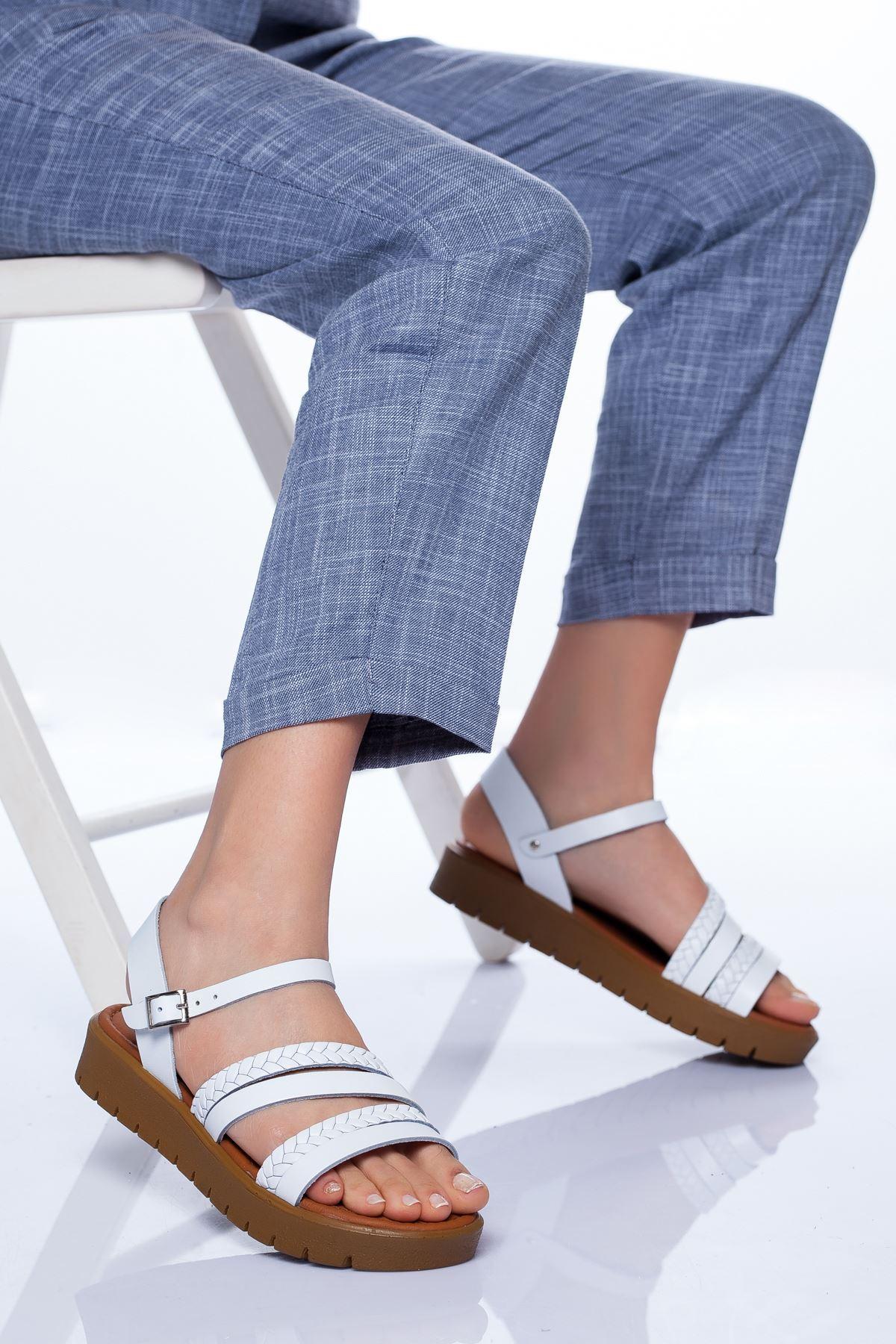 Coretta Deri Sandalet BEYAZ