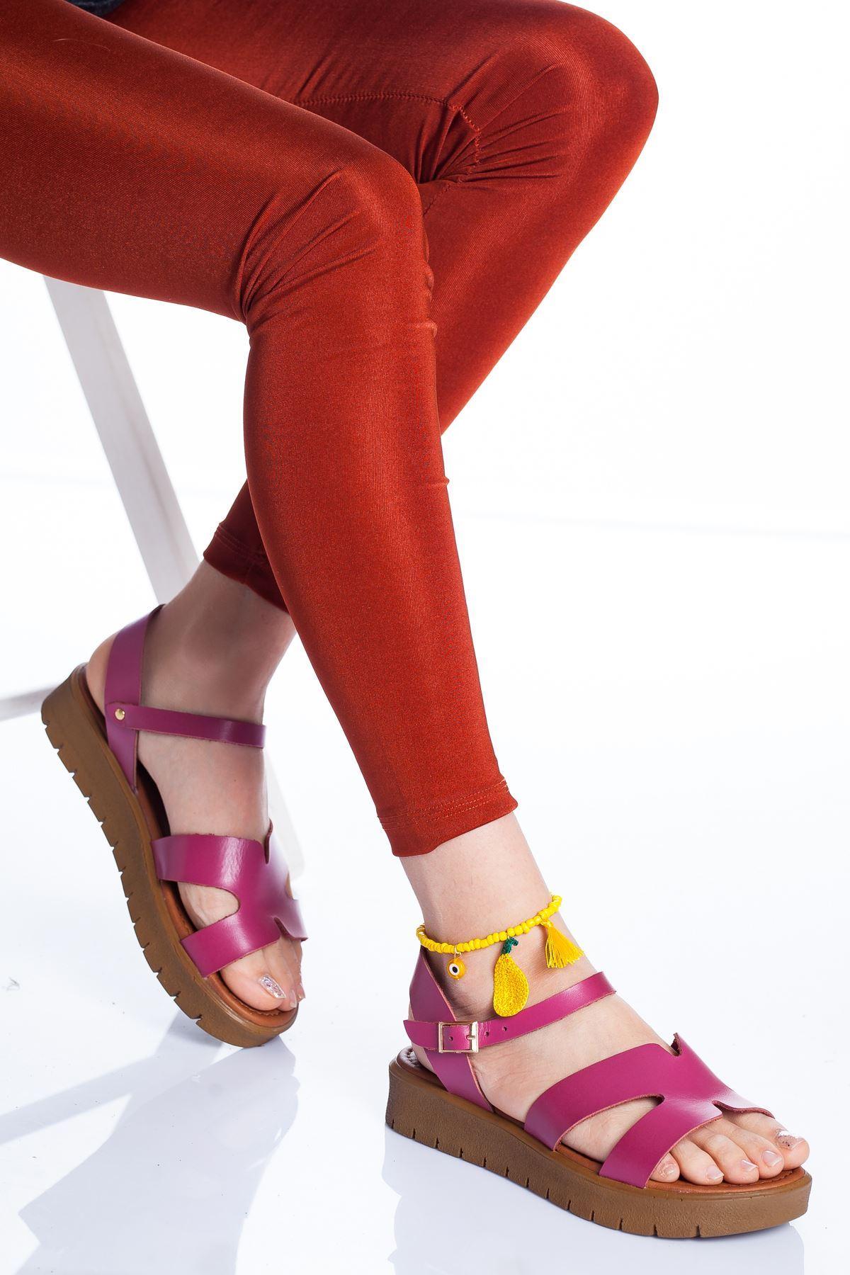 Nancy Hakiki Deri Sandalet FUJYA