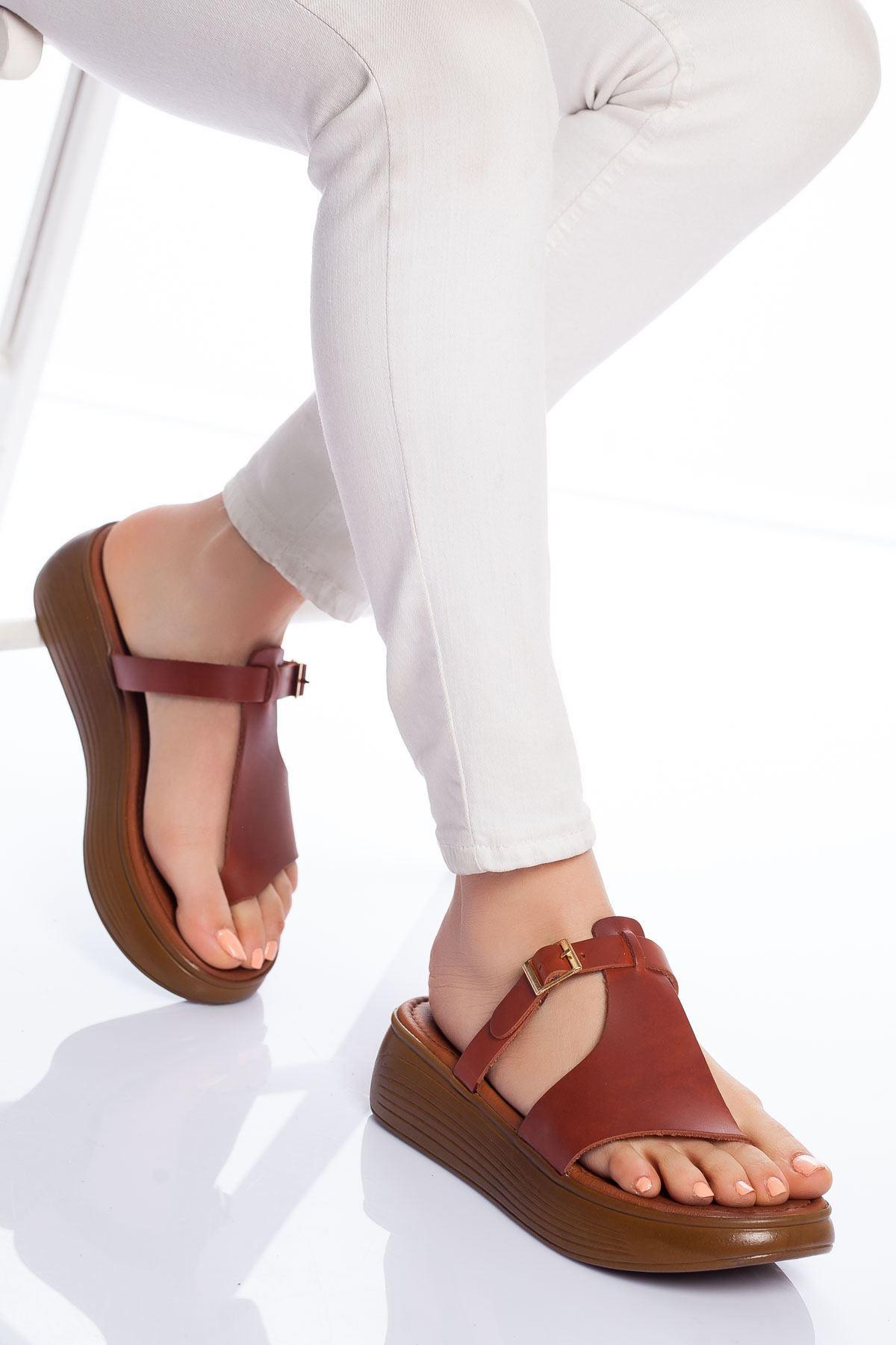 Cora Hakiki Deri Sandalet TARÇIN
