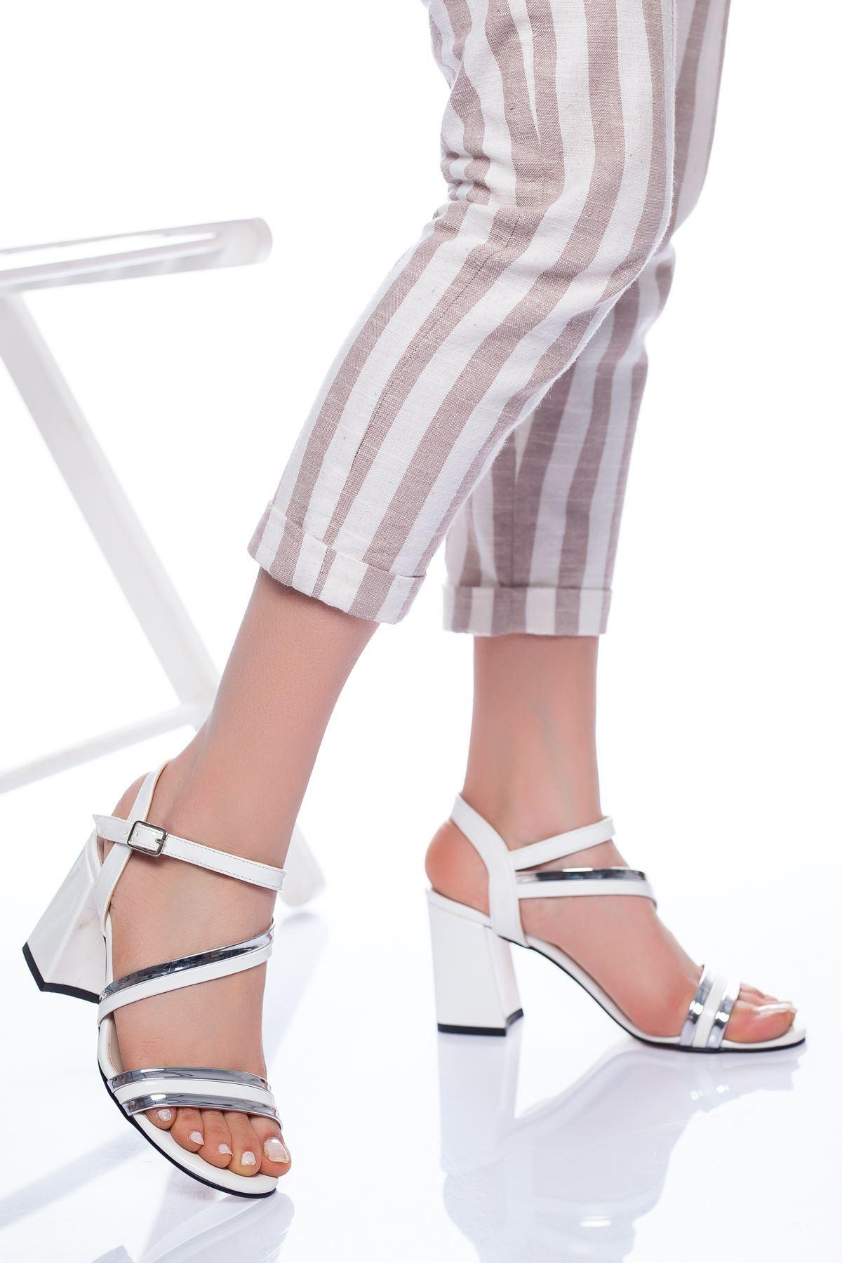 Faren Topuklu Ayakkabı BEYAZ-GÜMÜŞ