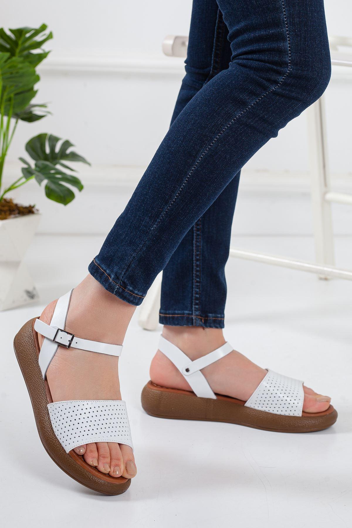 Rain Deri Sandalet BEYAZ