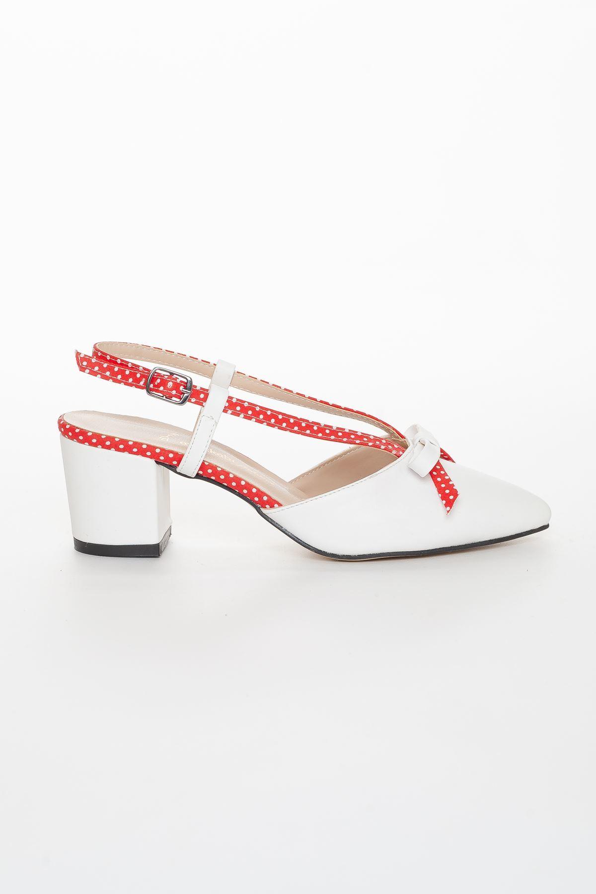 Felo Topuklu Ayakkabı BEYAZ-KIRMIZI