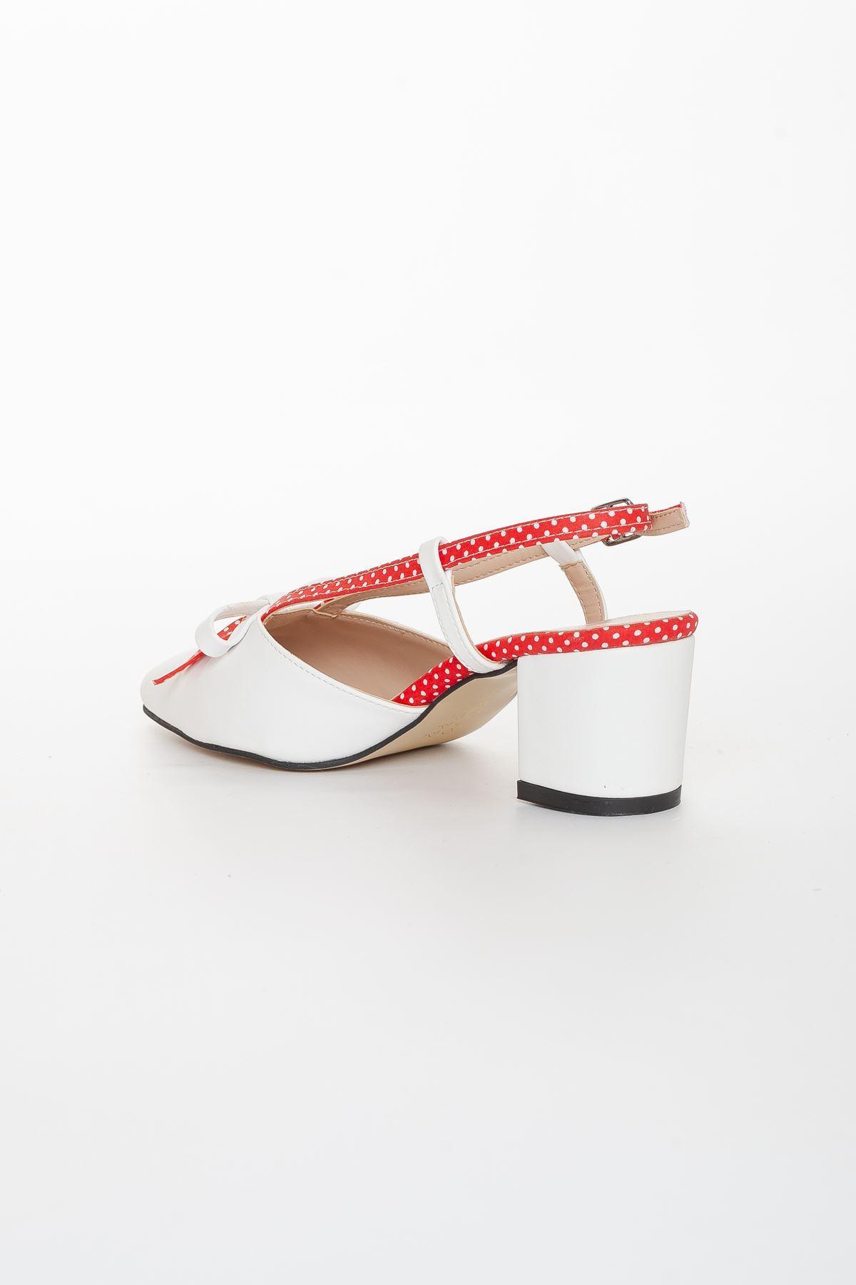 Asen Topuklu Ayakkabı BEYAZ-KIRMIZI