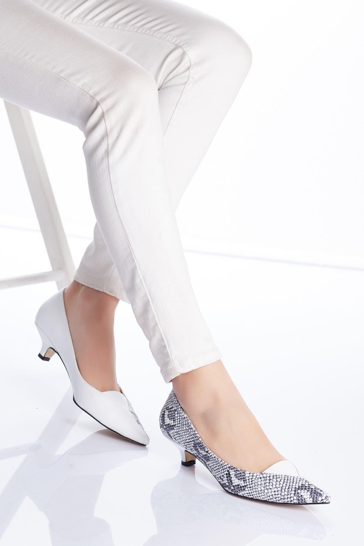 Limsi Topuklu Ayakkabı BEYAZ-YILAN