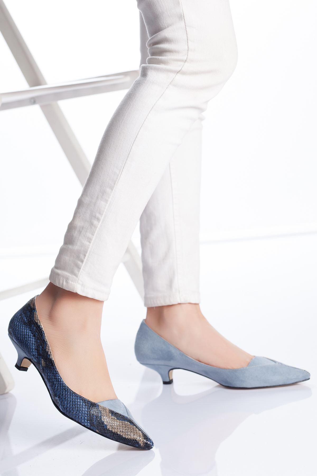 Limsi Kısa Topuklu Sivri Burun Ayakkabı MAVİ-YILAN