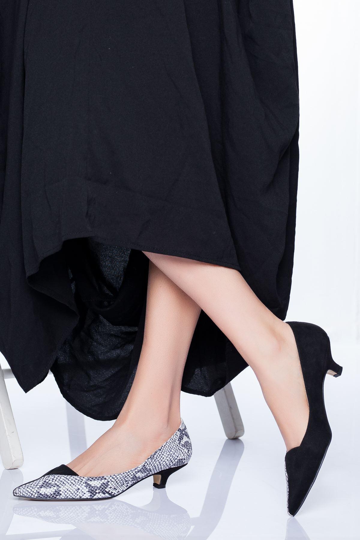 Limsi Kısa Topuklu Sivri Burun Ayakkabı Siyah-Yılan