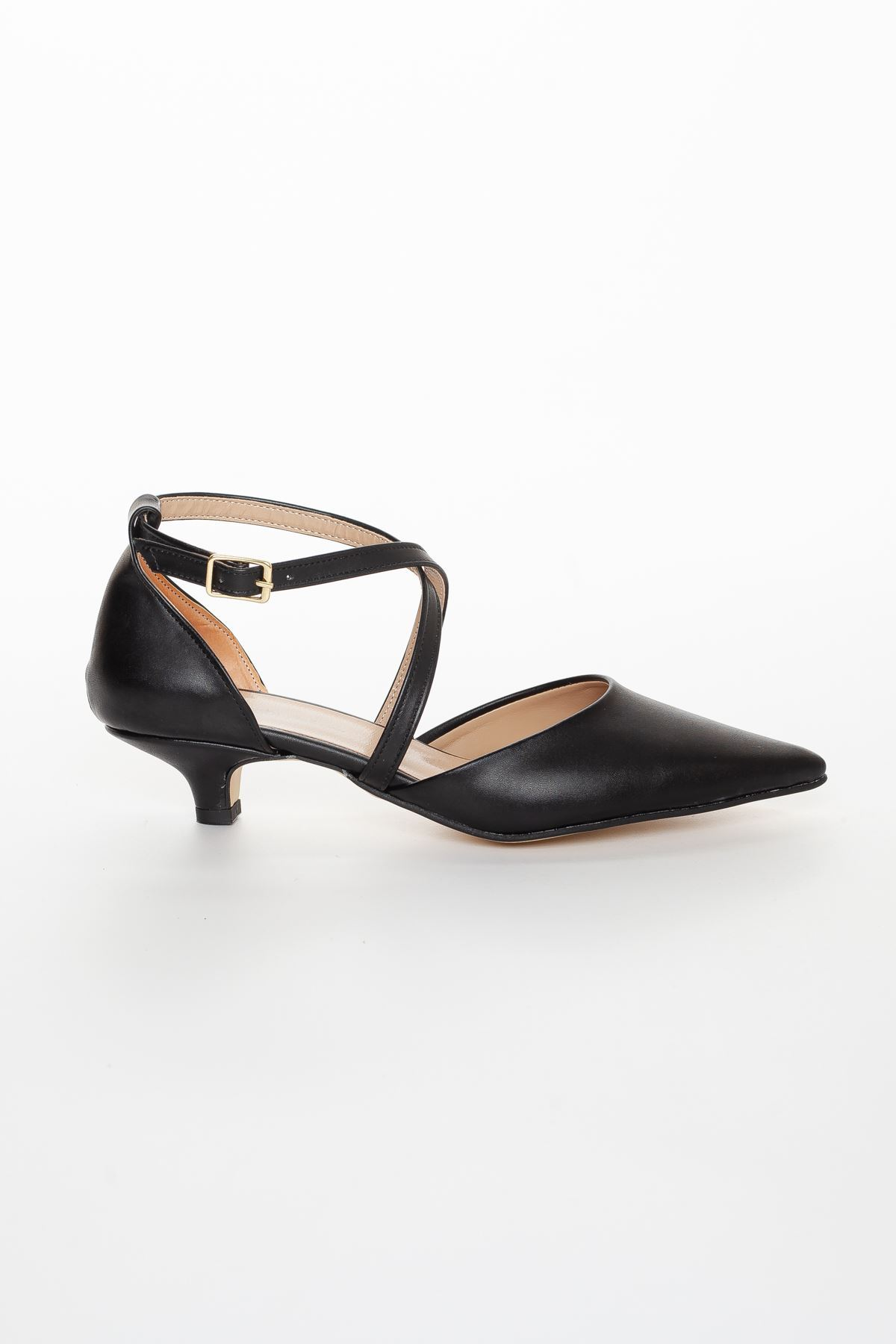 Balmi Sivri Burun Kısa Topuklu Ayakkabı Siyah